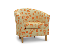tub chair in orange woodstock fabric 45 degree.