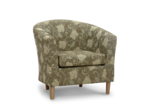 tub chair sale brown floral fabric 45 degree.