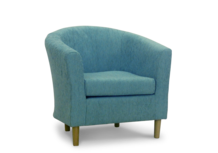 tub chair teal duck egg fabric 45 degree.