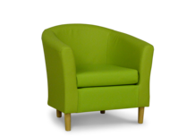 tub chair in lime leather fabric 45