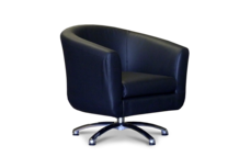 Swivel Black Faux Leather 45