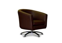 Tub Chairs Swivel Tub Chair in Faux Brown Leather 45