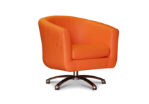 Tub Chairs Swivel Tub Chair in Faux Orange Leather 45