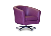 Tub Chairs Swivel Tub Chair in Faux Plum Leather 45