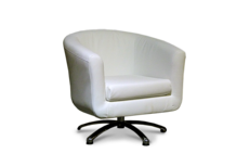 Tub Chairs Swivel Tub Chair in Faux White Leather 45
