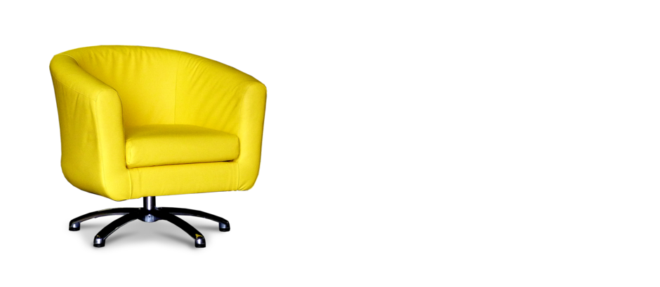 Swivel yellow faux leather tub chair for Leather swivel tub chair