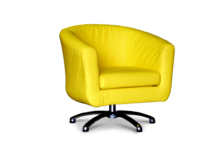 Tub Chairs Swivel Tub Chair in Faux Yellow Leather 45