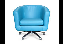 Swivel Blue Turquoise Faux Leather