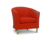 leather tub chair pvc red 45 degree.