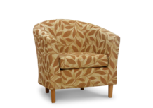 tub chair orange leaf fabric 45 degree