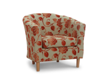tub chair sale orange floral fabric 45 degree.
