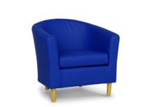 tub chair in faux blue leather 45