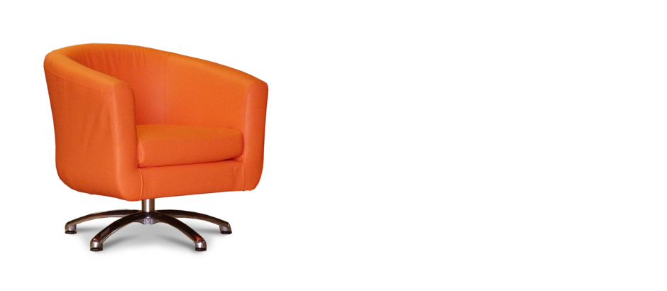 Orange faux leather swivel tub chair for Leather swivel tub chair