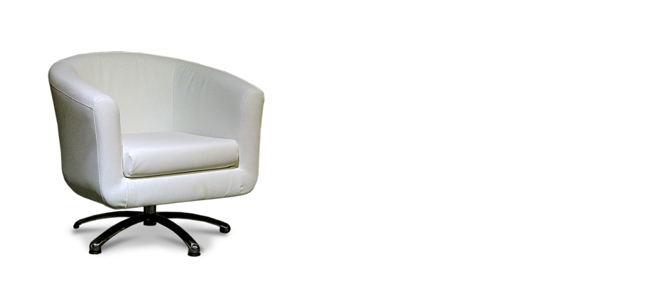 White faux leather swivel tub chair for Leather swivel tub chair