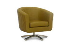 swivel tub chair faux tan leather 45 degree.