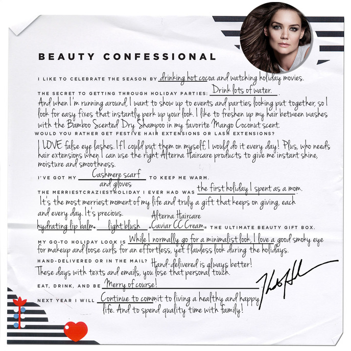 HOLIDAY BEAUTY CONFESSIONAL: KATIE HOLMES