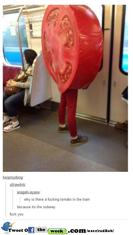 Subway tomato on train