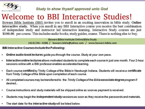 instructor led interactive online bible study