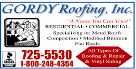 Website for Gordy Roofing, Inc.