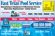 Website for East Texas Pool Service Inc.