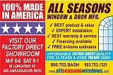 Website for All Seasons Window & Door Mfg., Inc.