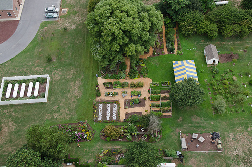 Aerial shot of the Sussex County Master Gardener Demonstration Garden