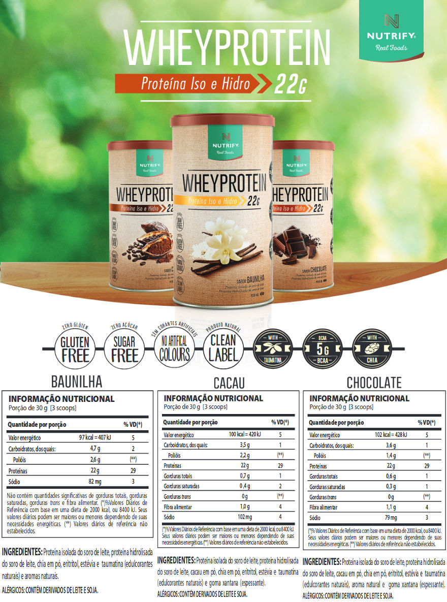 Whey Protein (Proteína Iso e Hidro) 450g Nutrify