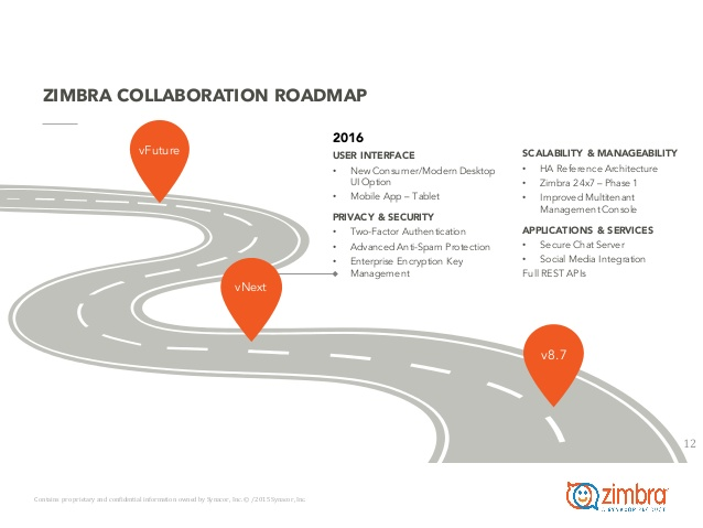 Zimbra roadmap (free available online)