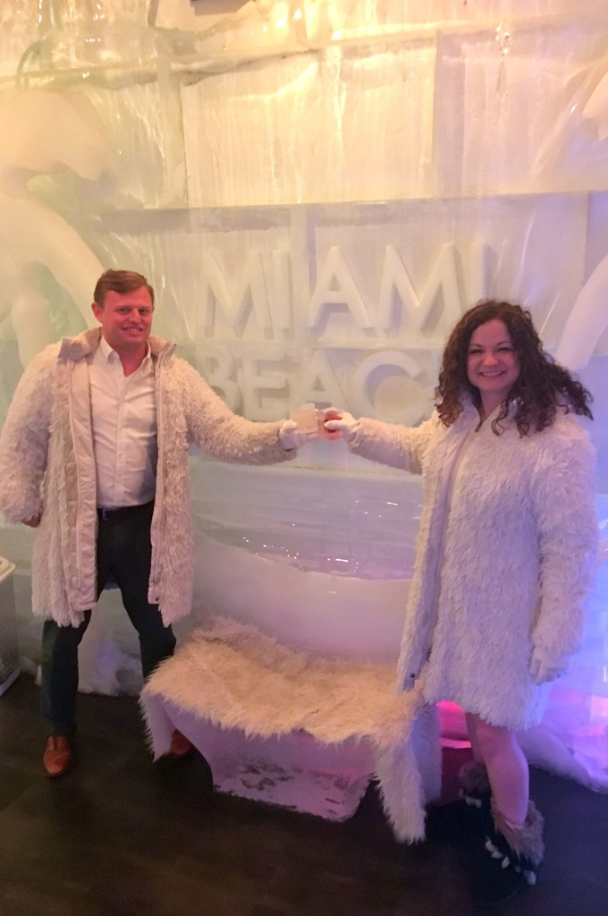 We escaped snowy Chicago to go to an ice bar in Miami!