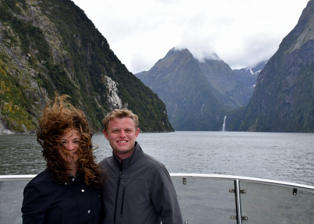 Enjoying Milford Sound, New Zealand (though my hair did not!)