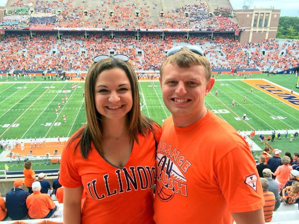 Cheering on Illinois (Stacy's adopted team)