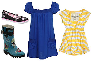 For girls, it's all about yellow colors, baby doll dresses and stylish rain boots.