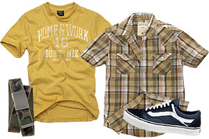 For guys, it's all about cool T-shirts and old-school kicks.