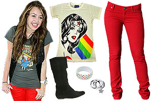 Miley Cyrus' style is casual and colorful.