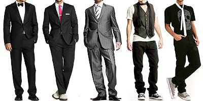 Go formal in a tux to casual in jeans and a cool vest.
