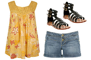 Pair your summer outfit with strappy gladiator sandals.