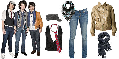 The Jonas Brothers love skinny jeans, vests and lots of accessories.