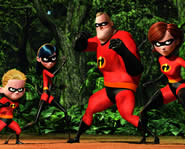 Mr. Incredibles' super hero family race to the rescue in the computer-animated movie, The Incredibles!