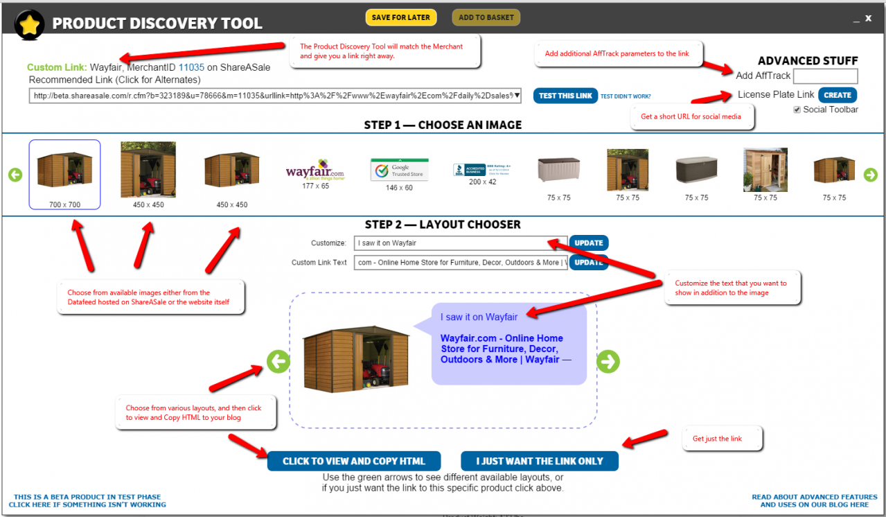 Product Discovery Bookmarklet Tool