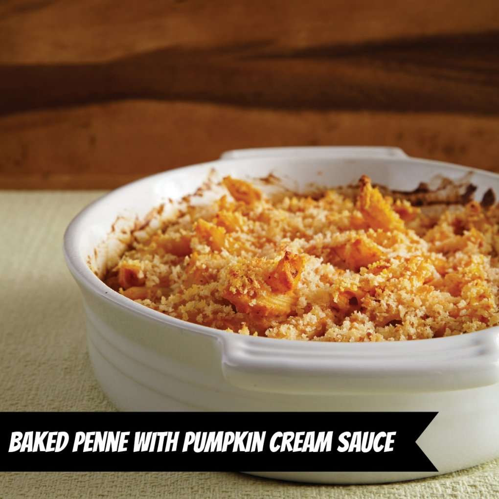 Vegan Baked Penne with Pumpkin Cream Sauce