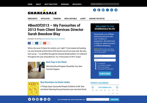 #BestOf2013 - My Favourites of 2013 from Client Services Director Sarah Beeskow Blay - ShareASale Blog