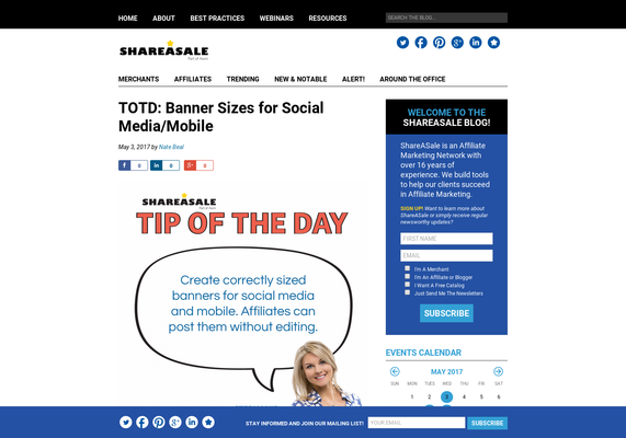 READ MORE:  Banner Sizes for Social Media/Mobile - ShareASale Blog