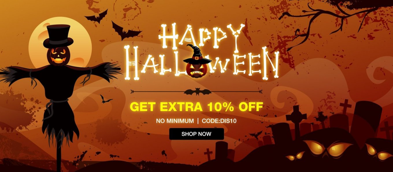Halloween Sale, All Freeshipping + Extra 10% Off