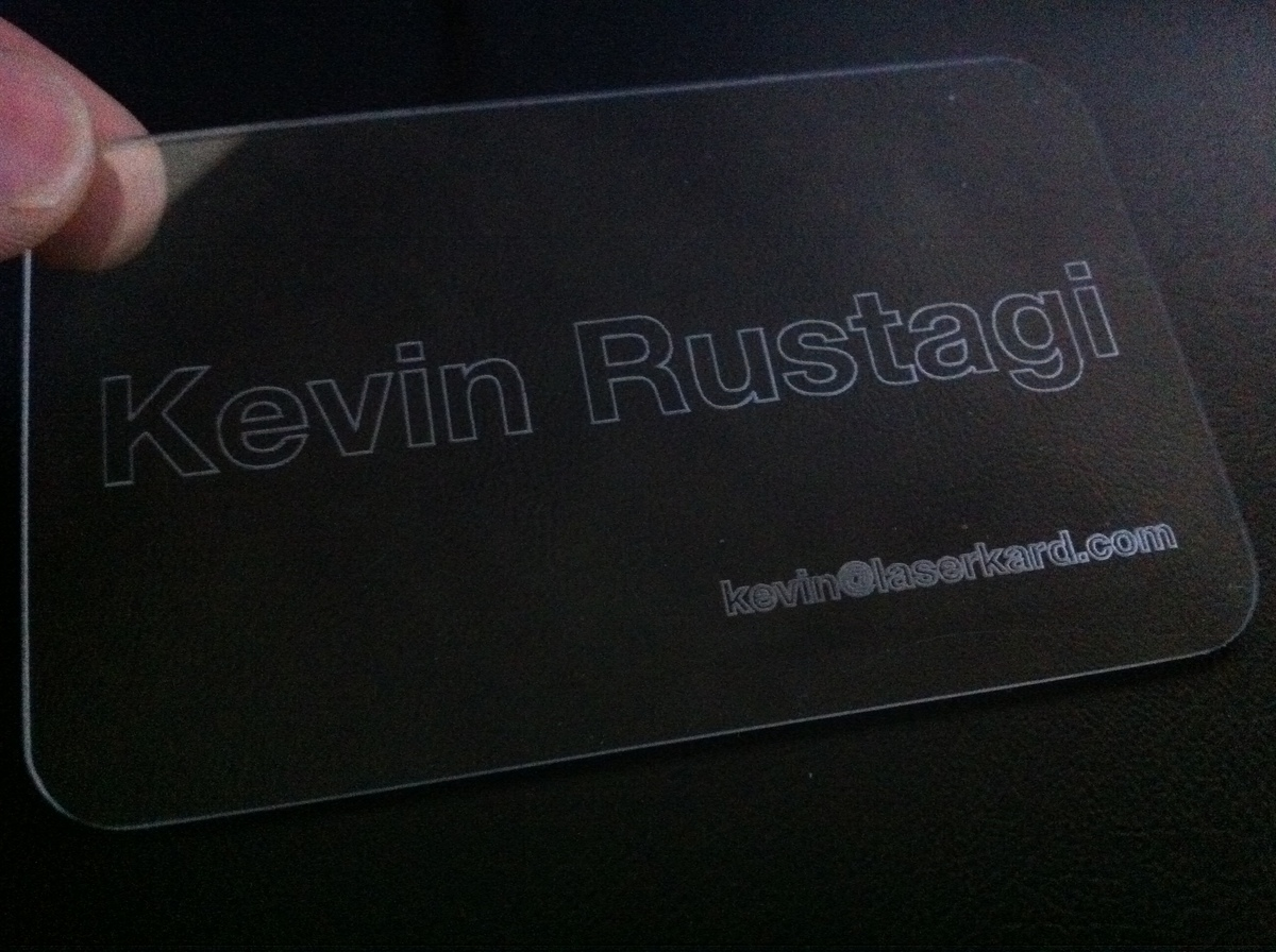 Clear Scratch-Resistant Laser-Etched Card (Fall 2009)