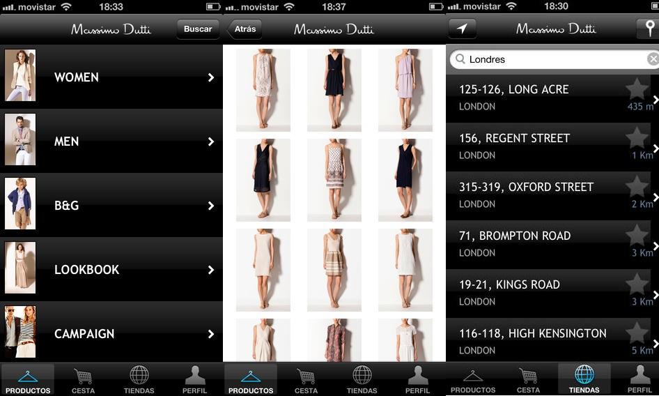 Massimo Dutti mobile retail app