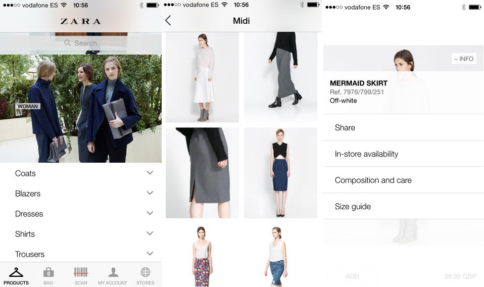 zara mobile retail app
