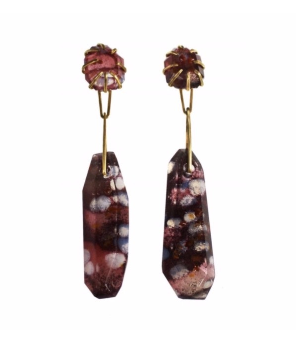 Double Prong-Set Spotted Quartz Earrings