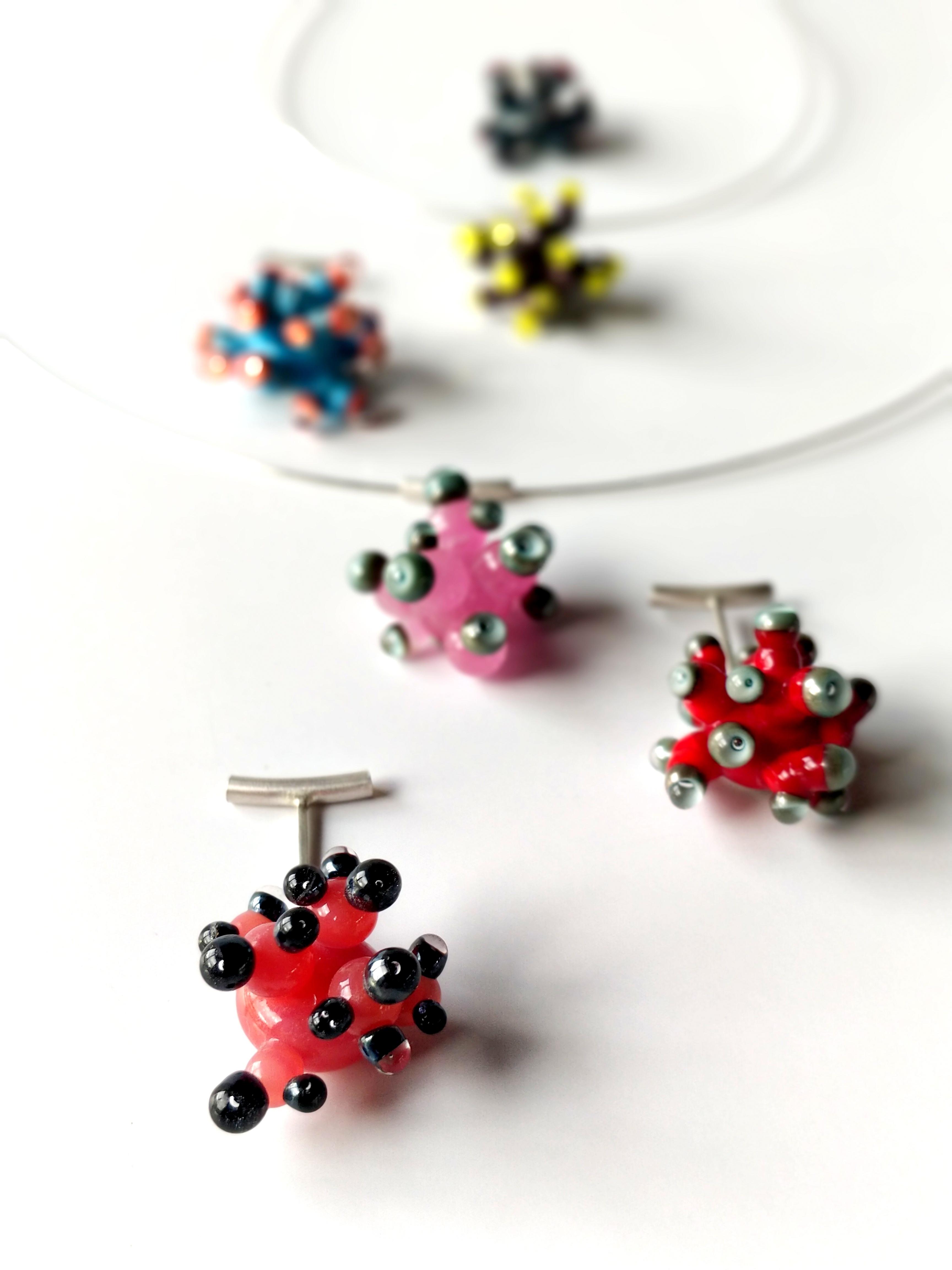 Dark Pink and Black Anemone Pendant Necklace by Cecilia Lopez-Bravo