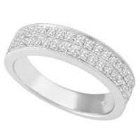 Half Eternity Double Row of Diamonds Milgrain Wedder