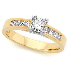 Princess Cut Claw & Channel Set Engagement Ring